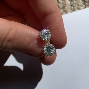 Sterling Silver Cubic Zirconia Heart Detail Studs